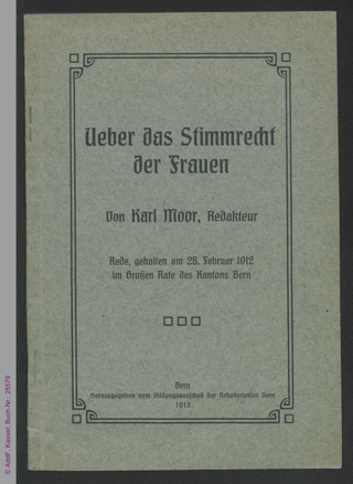 Ueber das Stimmrecht der Frauen : Rede, gehalten am 28. Februar 1912 im Großen Rate des Kantons Bern