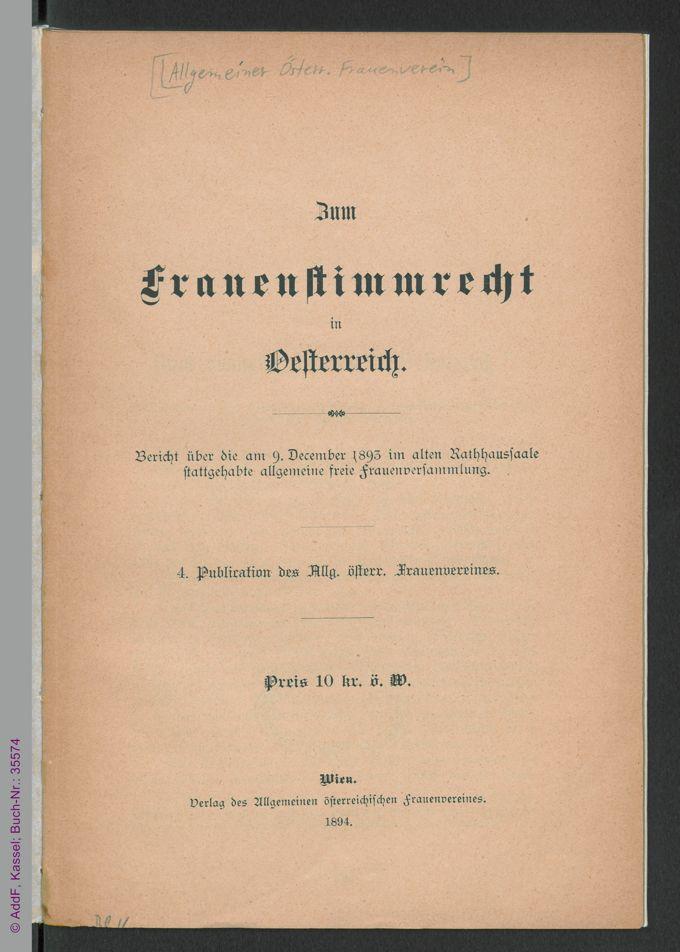 Zum Frauenstimmrecht in Österreich / Seite 7