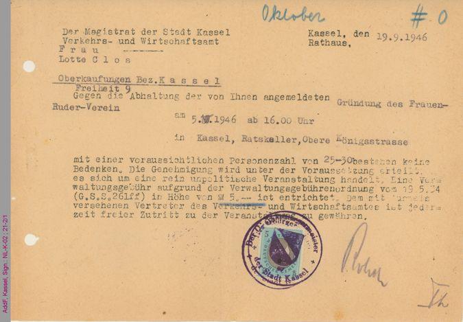 Genehmigung der Stadt Kassel zur Abhaltung einer Versammlung zur Gründung des Casseler Frauen-Ruder-Vereins / Seite 1