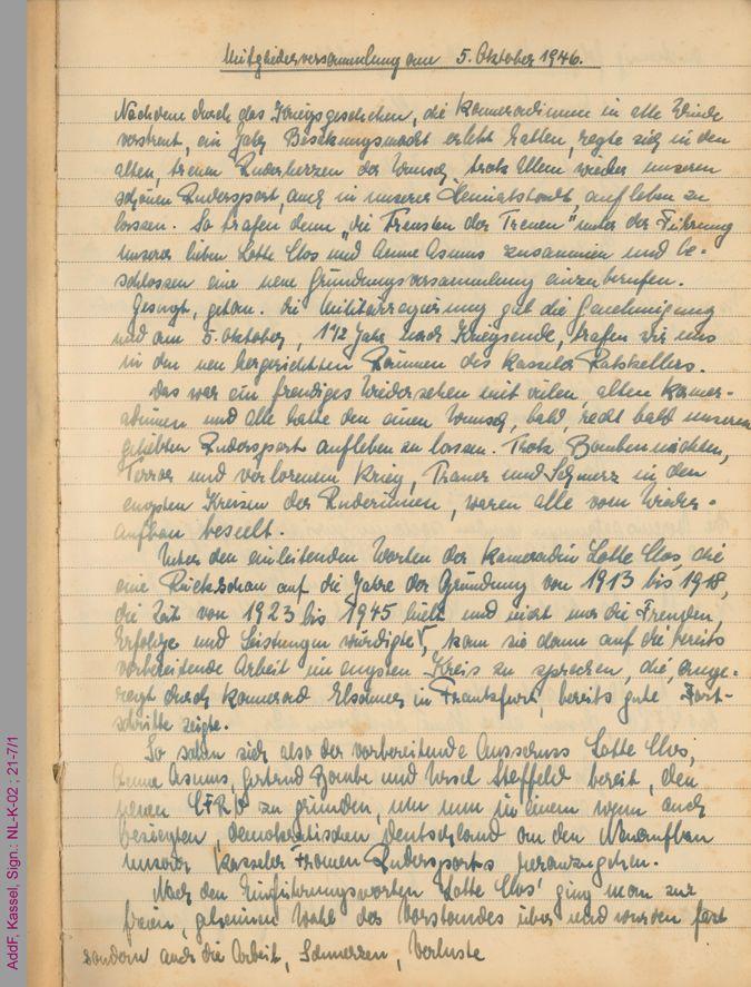 Protokoll der Mitgliederversammlung am 5. Oktober 1946 / Seite 1