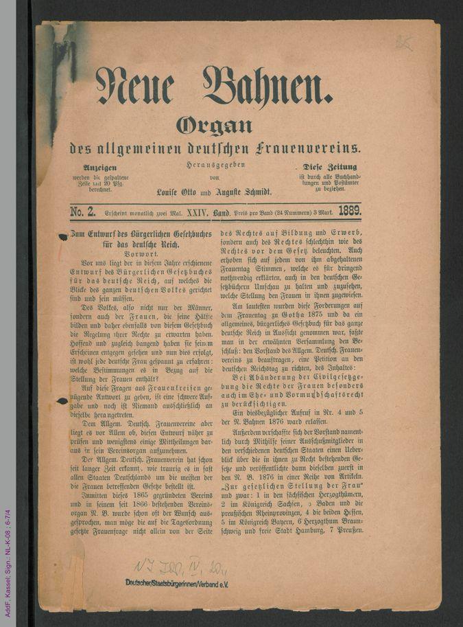 Neue Bahnen, 24. Jg. 1889, No. 2 / Seite 1
