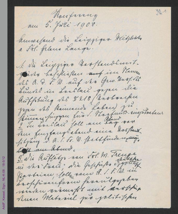 Protokoll Vorstandssitzung Juli 1908 / Seite 1