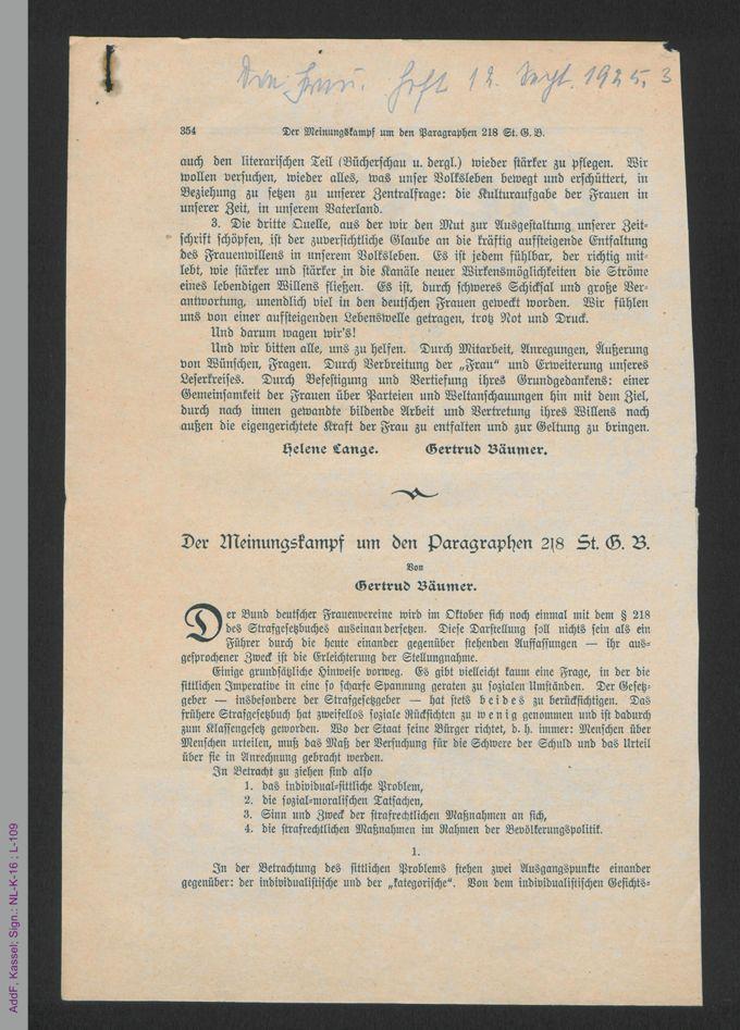 Sammlung: Frauenfrage 1926-1933. Vereine und Tagungen. / Seite 3