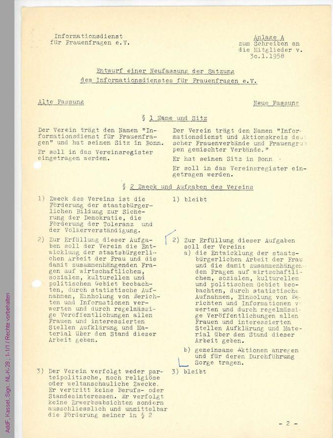 Entwurf einer Neufassung der Satzung des Informationsdienstes für Frauenfragen e. V. mit hs. Anmerkungen / Seite 1