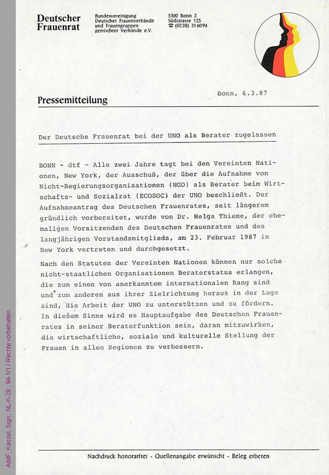 Pressemitteilung des Deutschen Frauenrats über den Erhalt des Beraterstatus bei den Vereinten Nationen (UN) / Seite 1