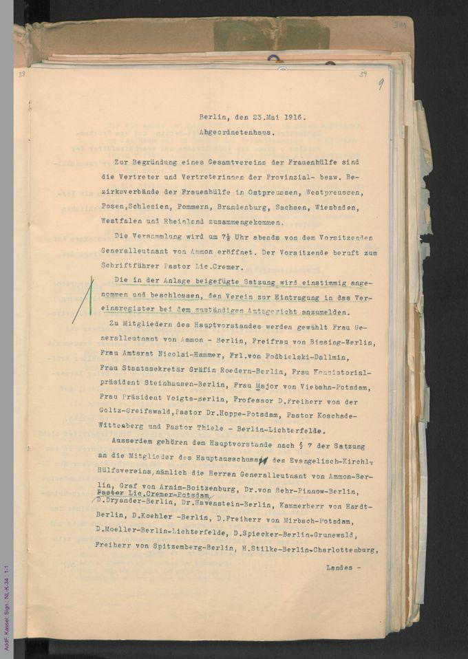 Begründung des Vereins Evangelische Frauenhülfe / Seite 39