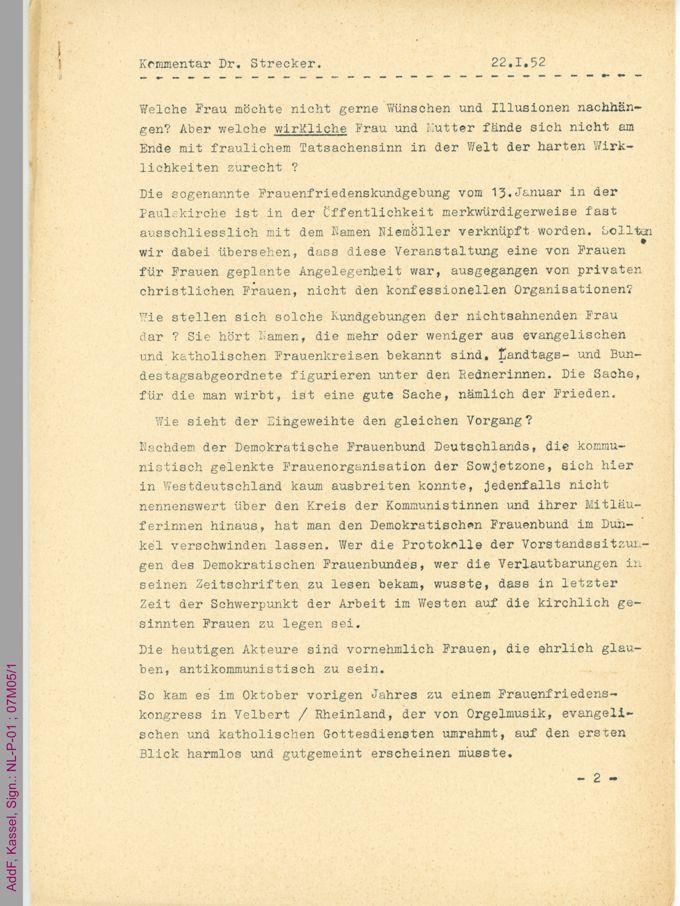 Manuskript des Kommentars von Gabriele Strecker zur Frauenfriedenskundgebung in der Frankfurter Paulskirche am 13.01.1952 / Seite 1