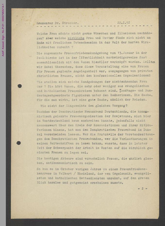 Frauenfriedenskundgebung in der Paulskirche, 1952, Frankfurt, Main / Seite 3