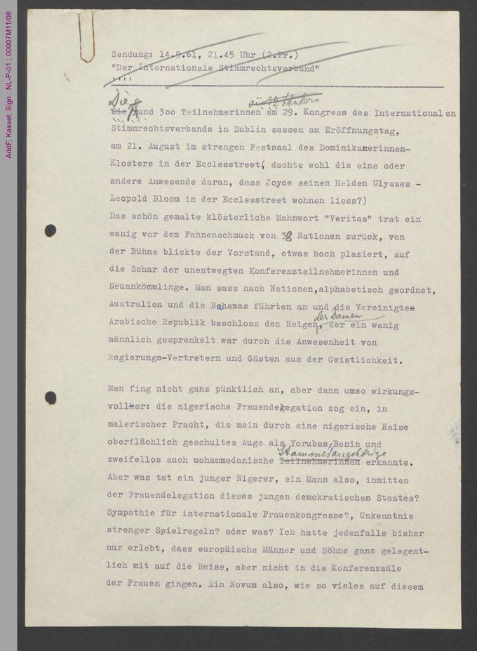 Berichte über den 29. Kongress des Internationalen Stimmrechtsverbands in Dublin 1961 / Seite 3