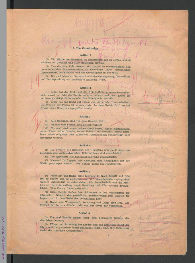 Grundgesetz der Bundesrepublik Deutschland, beschlossen in Bonn am 08.05.1949 / Seite 5