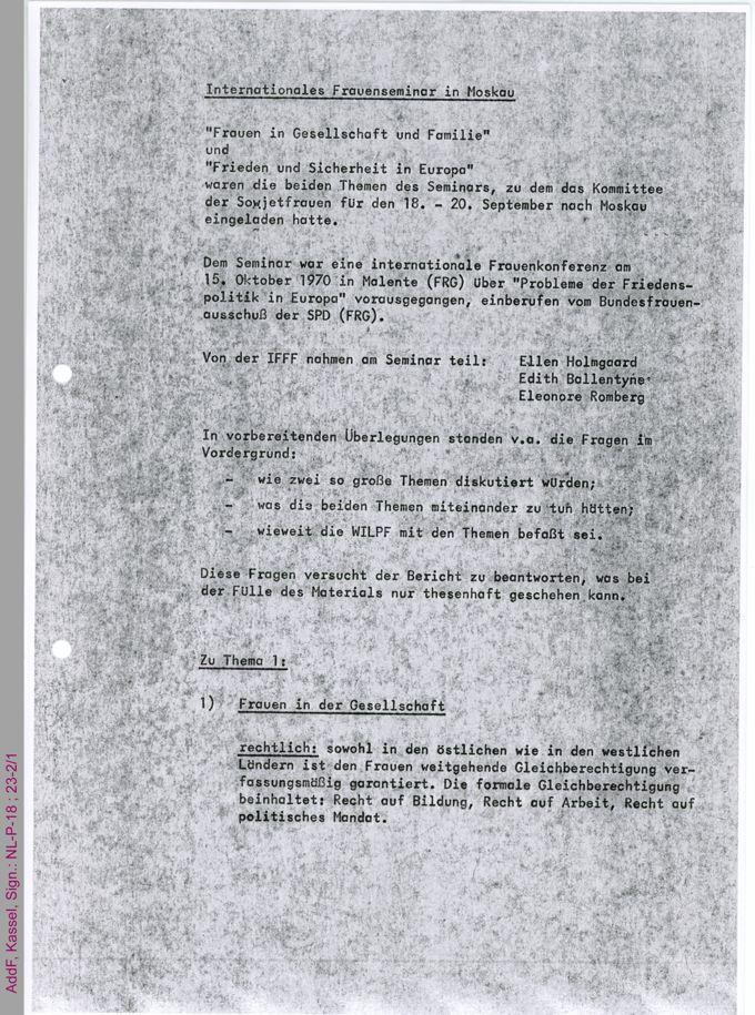 Bericht über das Internationale Frauenseminar in Moskau vom 18. bis 20. September 1971 / Seite 1