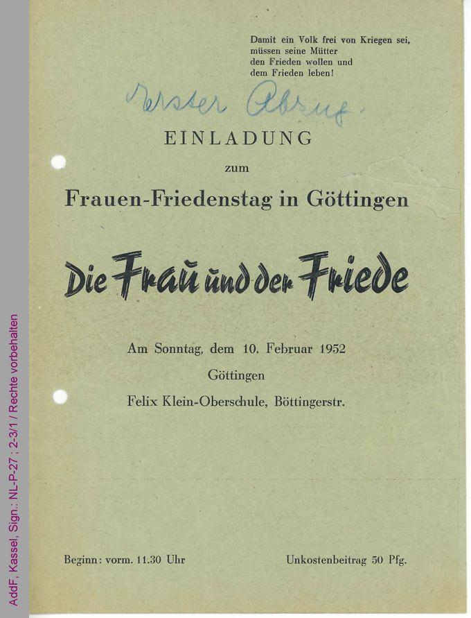 Einladung und Programm zum Frauen-Friedenstag in Göttingen am 10. Februar 1952 / Seite 1