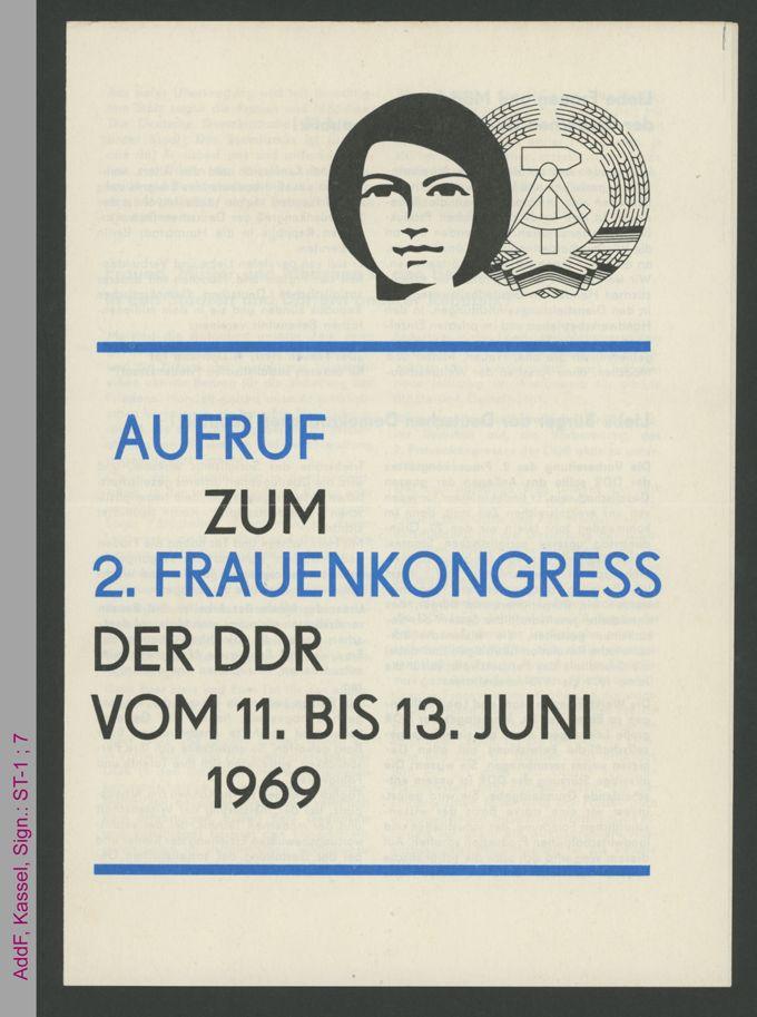 Aufruf zum 2. Frauenkongress der DDR vom 11. bis 13. Juni 1969 / Seite 1