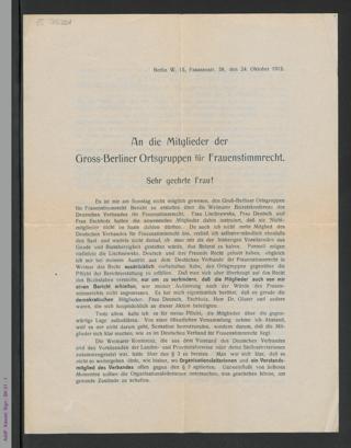An die Mitglieder der Gross-Berliner Ortsgruppen für Frauenstimmrecht