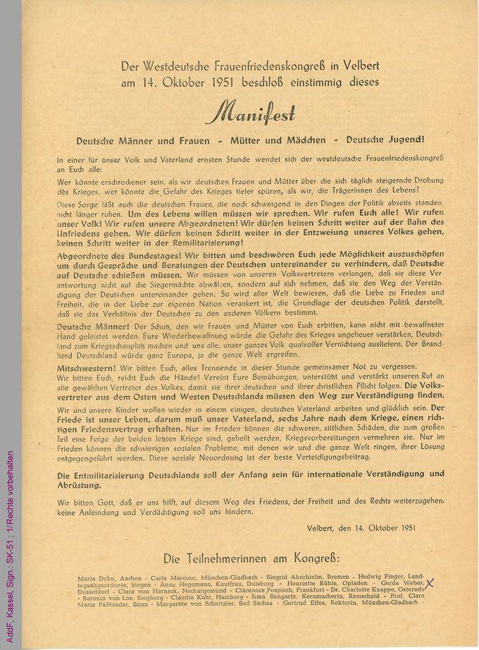 Westdeutscher Frauenfriedenskongreß, Velbert, 1951, Manifest / Seite 1
