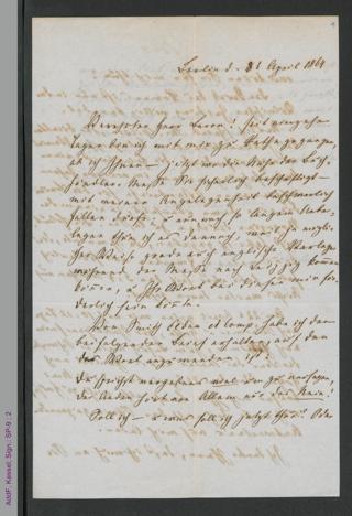 Brief von Fanny Lewald an Herrn Baron, hs.