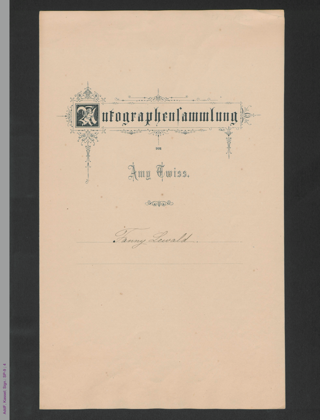 Zwei Fragmente von Fanny Lewald, hs.