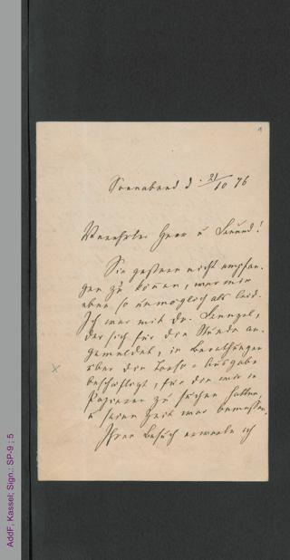 Brief von Fanny Lewald an Herrn Collin, hs.