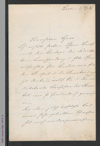 Brief von Fanny Lewald-Stahr an Ernst Rosenfeld, hs.