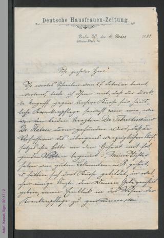 Brief von Lina Morgenstern an unbekannt, hs.