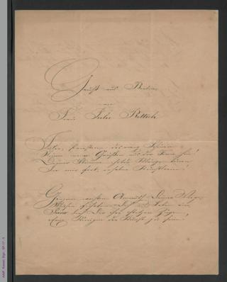 Gedichtmanuskript: Gruß aus Berlin an Frau Julie Rettich, hs.