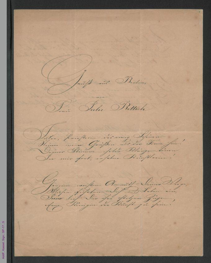 Gedichtmanuskript von Lina Morgenstern: Gruß aus Berlin an Frau Julie Rettich, hs. / Seite 1