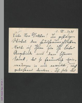 Postkarte von Rosa Mayreder an Franz Oltmann, hs.