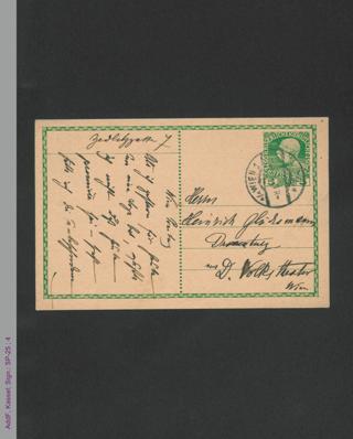 Postkarte von Bertha von Suttner an Heinrich Glücksmann