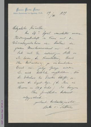 Brief von Bertha von Suttner an einen unbekannten Künstler, hs.