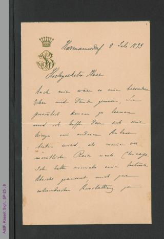 Brief von Bertha von Suttner an unbekannt, hs.