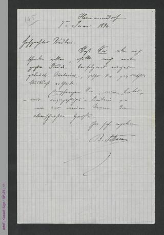 Brief von Bertha von Suttner an ein unbekanntes Fräulein, hs.