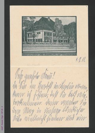 Briefkarte von Lily Braun an unbekannt, hs.