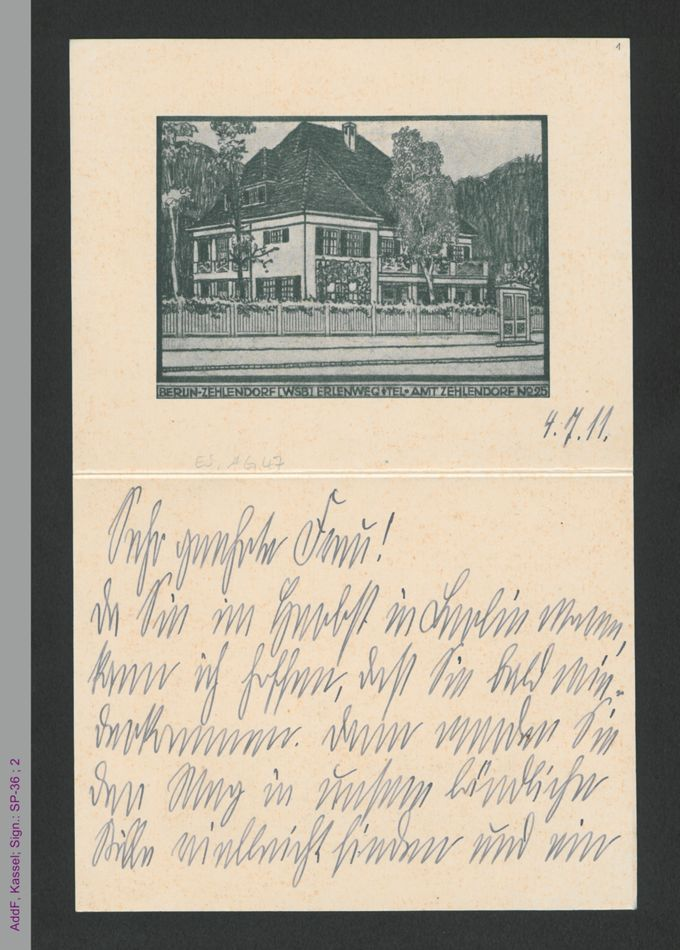 Briefkarte von Lily Braun an unbekannt, hs. / Seite 1