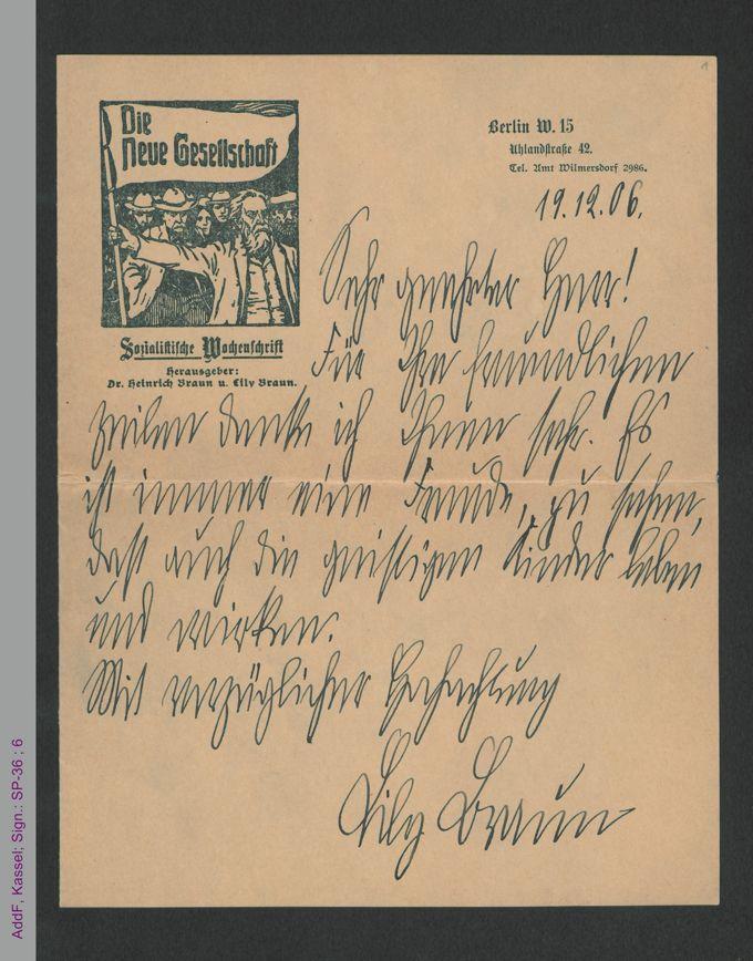 Brief von Lily Braun an unbekannt, hs / Seite 1