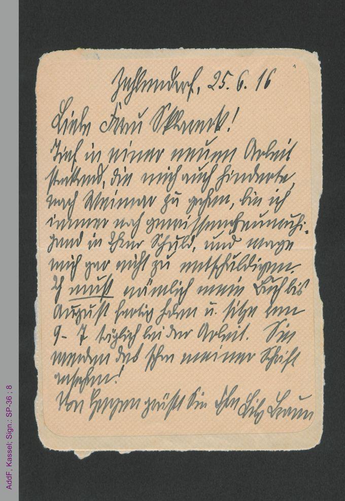 Brief von Lily Braun an Francis Sklarek, hs. / Seite 1
