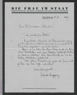 Brief von Anita Augspurg an Ernst Heimeran, hs.