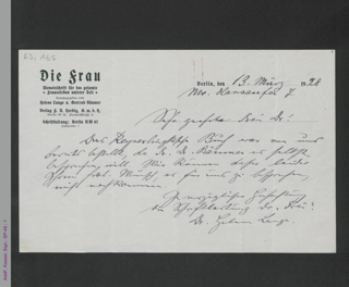 Brief von Helene Lange an unbekannt, hs.