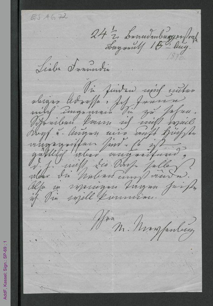 Brief von Malwida von Meysenbug an eine Freundin, hs. / Seite 1