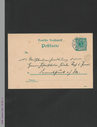 Postkarte von Elise Polko an Musikalienhandlung Steyl und Thomas, hs.