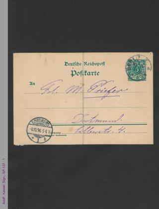 Postkarte von Minna Cauer an Fräulein M. Priefer, hs