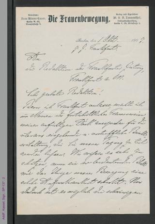 """Brief von Minna Cauer an die Redaktion der """"Frankfurter Zeitung"""", hs"""