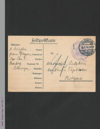"""Feldpostkarte von Anna Schieber an die Redaktion des """"Neuen Tageblattes"""", hs."""
