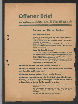 Offener Brief der Spitzenkandidatin der SED Frau Elli Schmidt