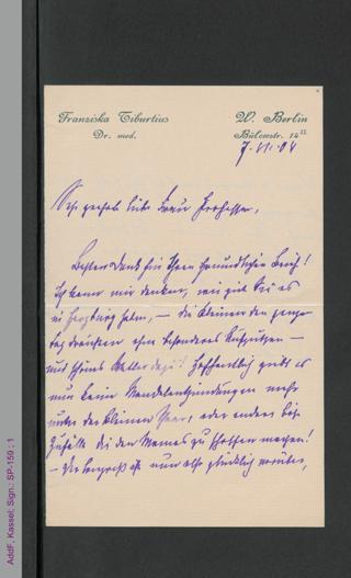 Brief von Franziska Tiburtius an eine unbekannte Frau Professor, hs.