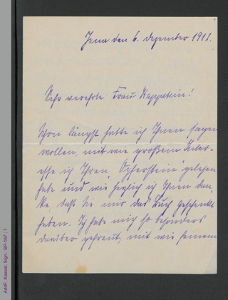 Brief von Ada Weinel an Anna Kappstein, hs.
