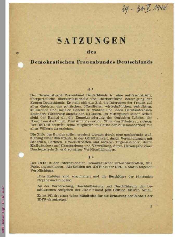 Satzung DFD 1948 / Seite 1