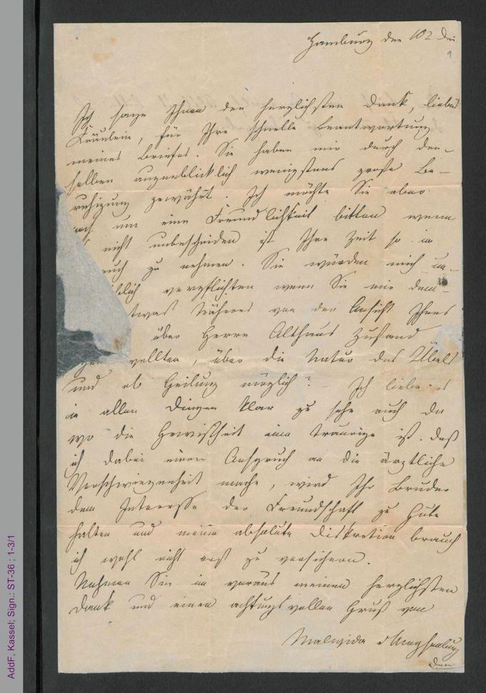 Brief von Malwida von Meysenbug an Pauline Hassenstein, hs. / Seite 1
