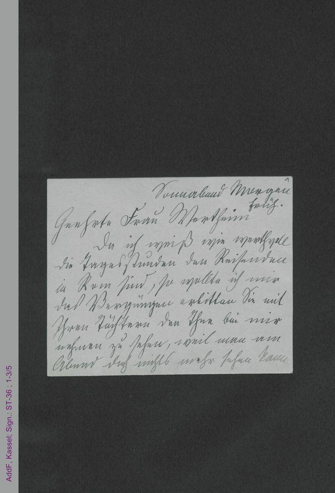 Briefkarte von Malwida von Meysenbug an Signora Wertheim, hs. / Seite 1