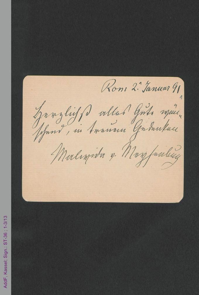 Briefkarte von Malwida von Meysenbug an Amalie Wertheim, hs. / Seite 1