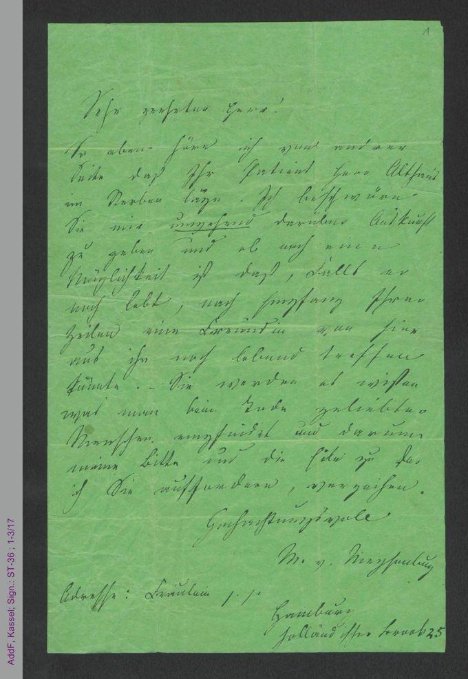 Brief von Malwida von Meysenbug an Herrn Dr. Hassenstein, Gotha, hs. / Seite 1